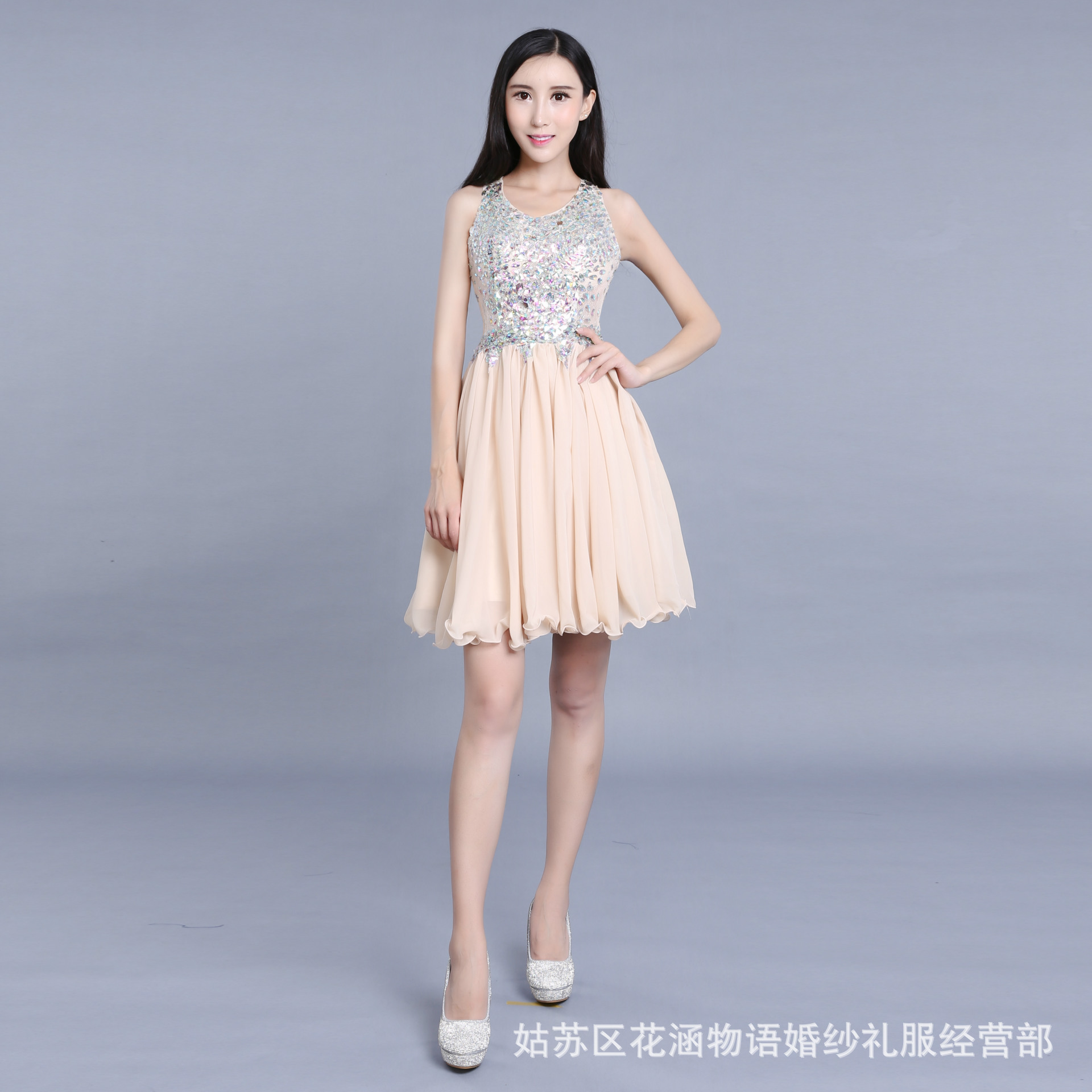 Short   Prom     Dress   Hot O Neck Tulle with Crystals Beads Cheap In Stock Homecoming Party Gowns Vestido de formatura