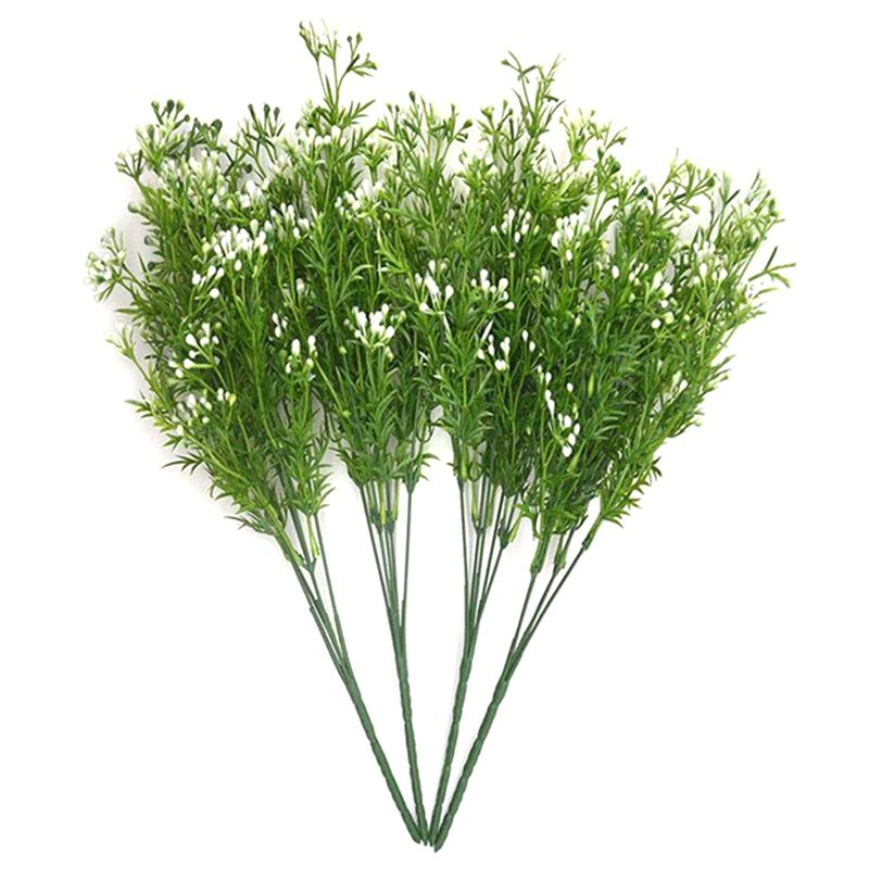 Artificial Shrubs 4pcs Simulation Greenery Fake Flowers Faux Plastic Plants Bouquet Wedding Home Garden Decor