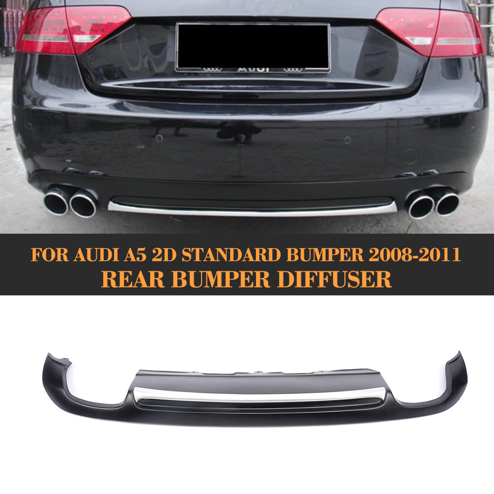 Matt black painted PU Rear Bumper Diffuser for Audi A5 Coupe Standard Only 2008-2011 Non-Sline carbon fiber car rear bumper lip spoiler diffuser for audi a5 coupe 2 door standard only 2008 2011 non sline black pu s5 style
