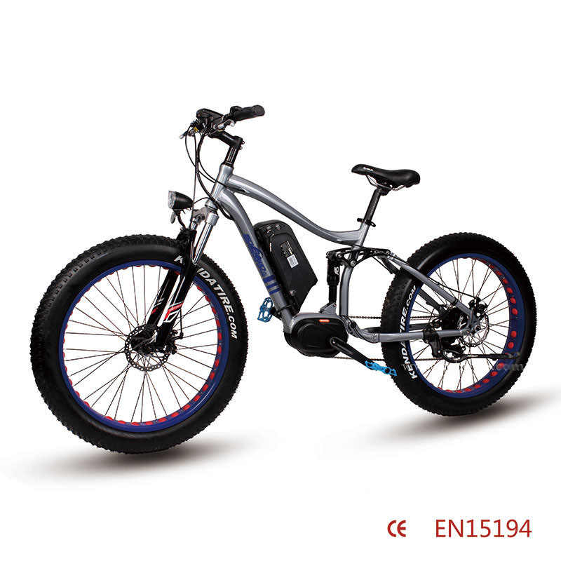 26inch electric mountain bicycle  Fat tire 8FUN center motor electric bike 36V Double shock absorption Soft tail mountain