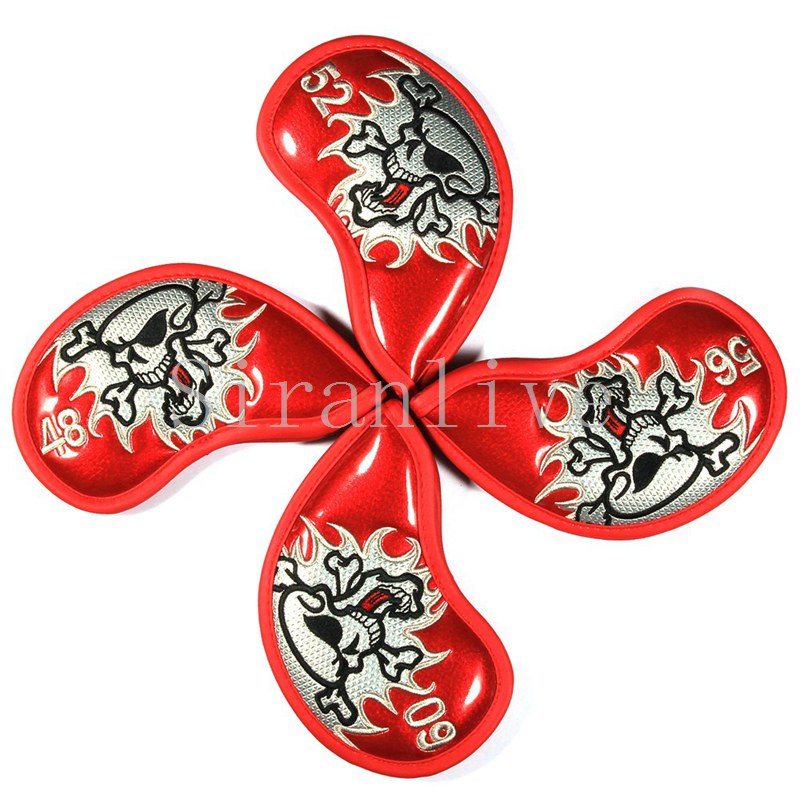 4pcs Skull Skull Head Embroidery Iron Golf Head Covers Club Covers