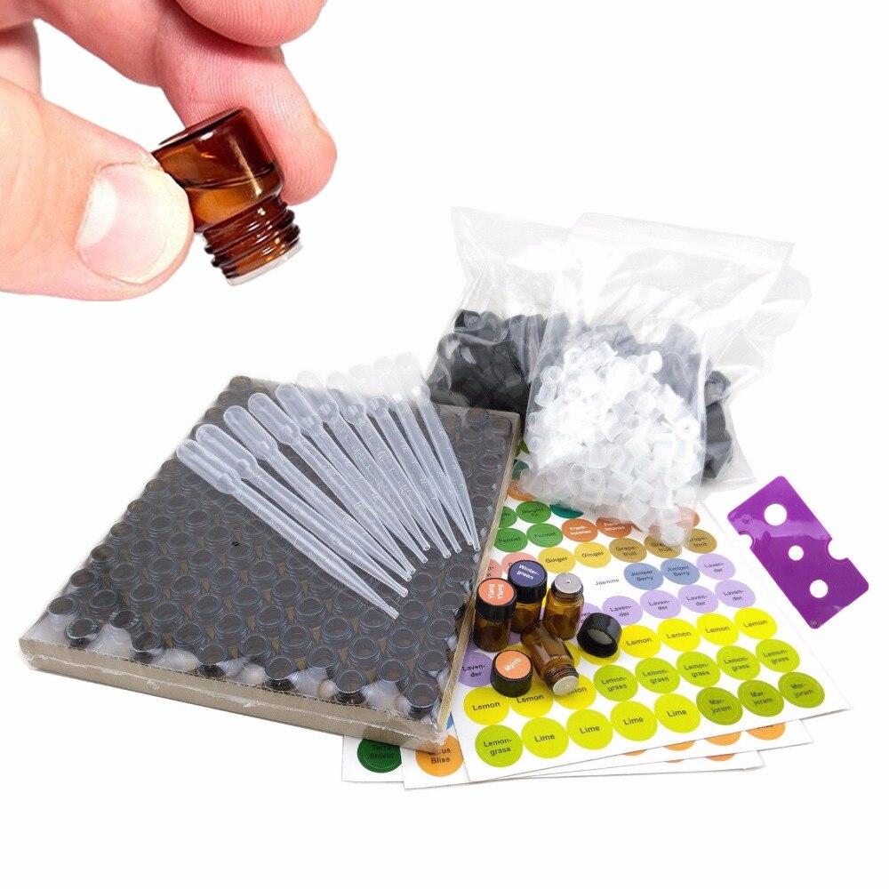 144 pièces 1/4 dram 1 ml bouteilles d'huile essentielle petites fioles d'échantillon en verre ambre avec couvercle réducteur d'orifice, étiquettes doTERRA incluses