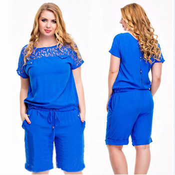 2019 Summer Jumpsuit for Women Elegant Hollow Out Lace Overalls Shirt Blue Tracksuit Women High Waist Big Plus Size XXXL 4XL 5XL pinkwin blue xxxl