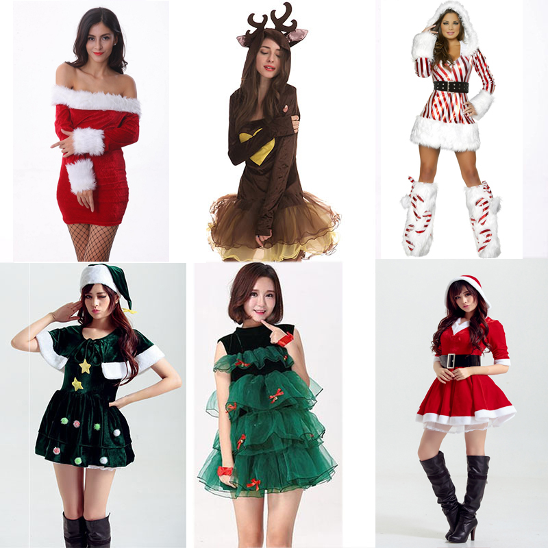 Adult Women Christmas Dress Winter Xmas Tree Deer Snowman <font><b>Sexy</b></font> <font><b>Lolita</b></font> Red Green Party <font><b>Cosplay</b></font> <font><b>Sexy</b></font> Halloween Costumes Clothes image
