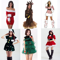 Adult Women Christmas Dress Winter Xmas Tree Deer Snowman Sexy Lolita Red Green Party Cosplay Sexy Halloween Costumes Clothes