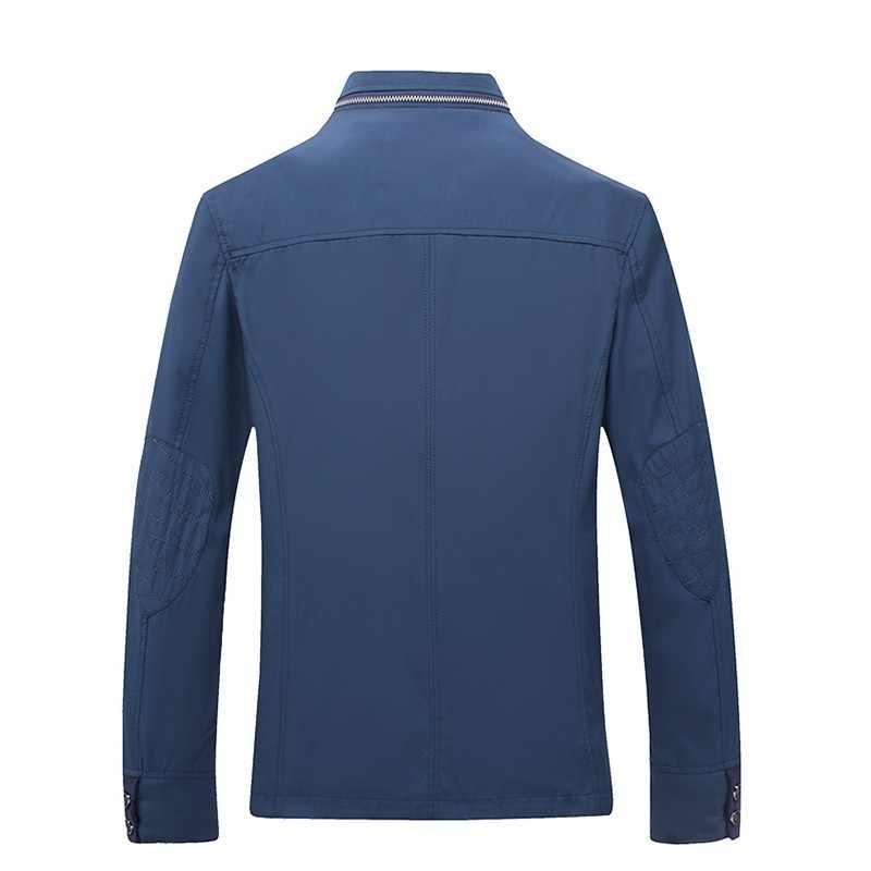 Новая мужская деловая повседневная куртка, весенне-осеннее тонкое пальто, Мужская подставка с воротником на молнии, верхняя одежда, однотонная ветровка 4XL