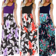 CUERLY 2019 summer dresses sexy Bohemia Womens Summer Boho Sleeveless Floral Print Tank Sundrss Beach Long Maxi Dress
