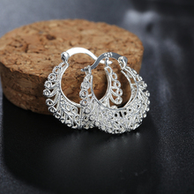 cute pretty fashion nice wedding lady silver plated earrings hot SALE women silver earring fashion jewelry Wedding gift JSHE329