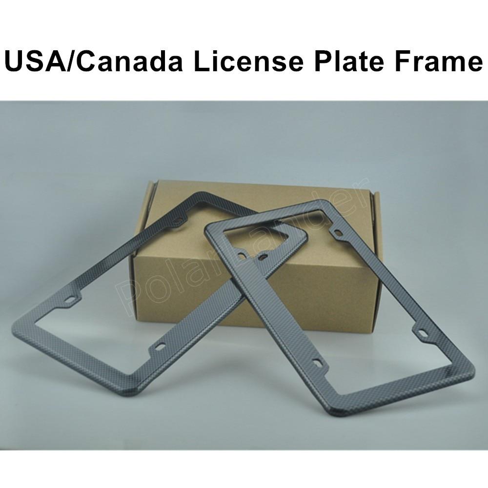 1 pair car license plate frames plate frame cover us type black carbon fiber printed style