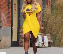 цены Hot Sale Ladies Casual Love Heart Pattern Flag Print Dress Short Sleeve Split Mini Dress Summer Plus Size For Women
