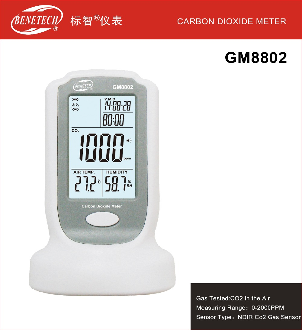 GM8802 Handheld Carbon Dioxide Detector CO2 Monitor Temperature Humidity Tool az 7788 desktop co2 temperature humidity monitor data logger air quality detector