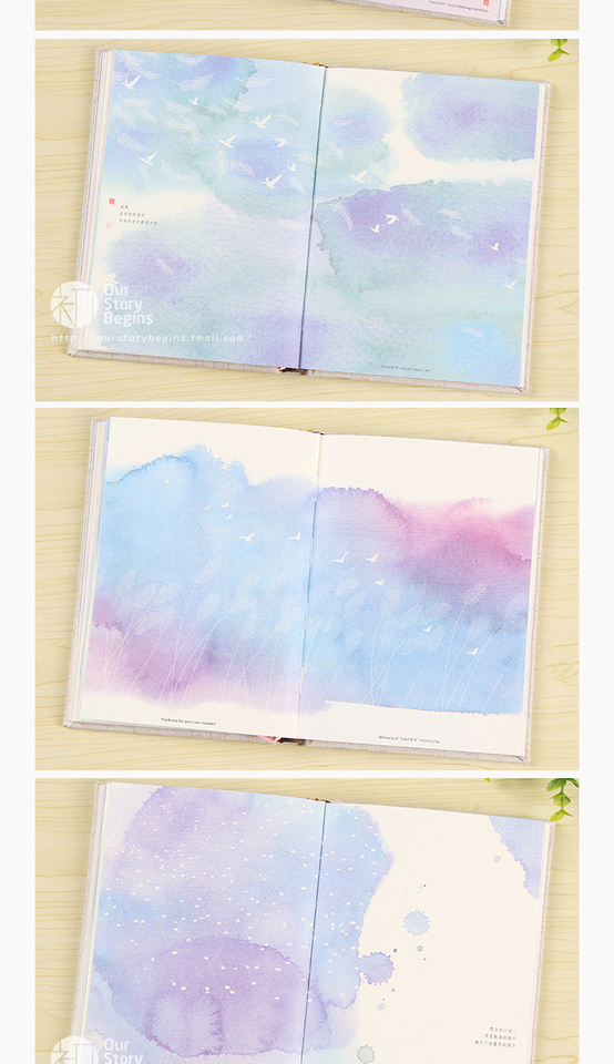 Color Page Wooden Boxed Diary Creative Beautiful Cloth Notebook