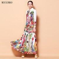 높은 품질의 최신 패션 활주로 턴 다운 칼라 맥시 드레스 여성의 긴 소매 레트로 아트 인쇄 디자이너 긴 드레