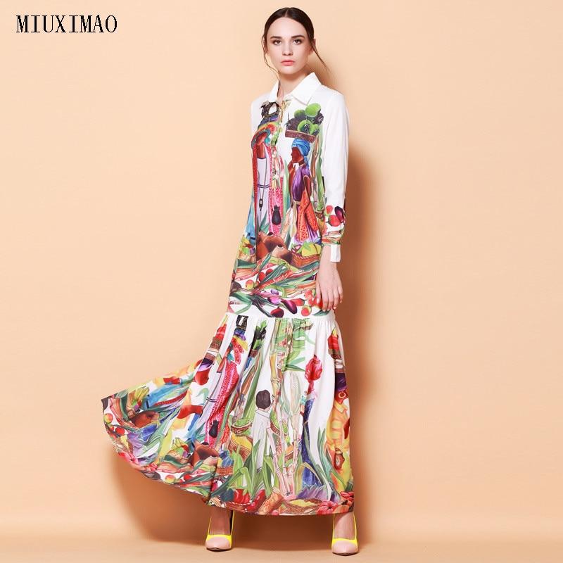 High Quality Newest Fashion Runway Turn Down Collar Maxi Dress Women's Long Sleeve Retro Art Printed Designer Long Dress high collar long sleeve printed dress