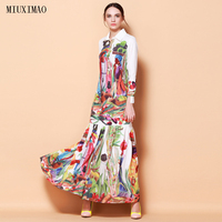 High Quality Newest Fashion Runway Turn Down Collar Maxi Dress Women's Long Sleeve Retro Art Printed Designer Long Dress