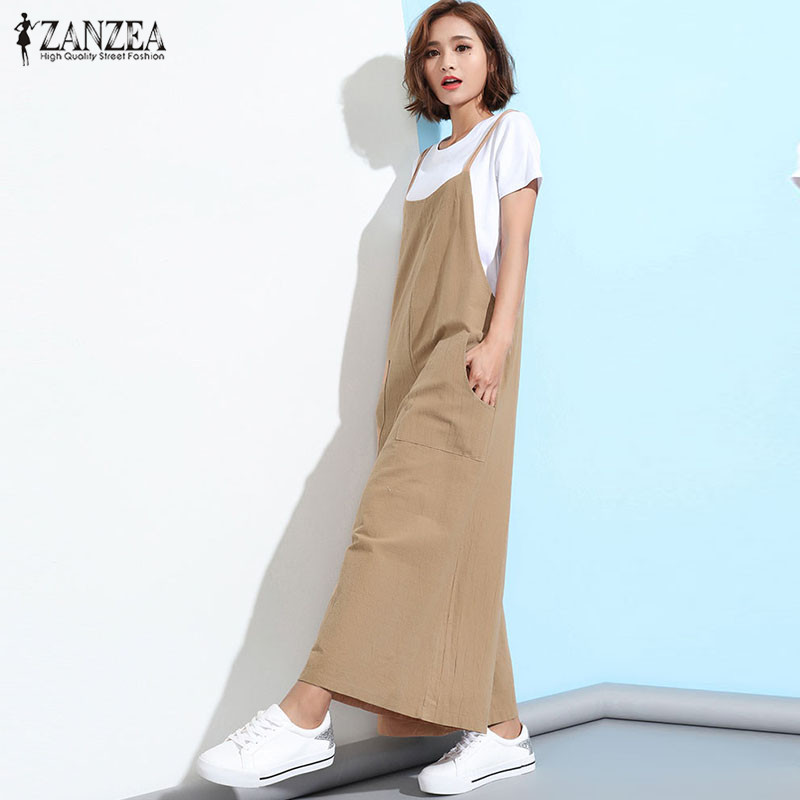 3a35545a1bc ZANZEA Rompers Womens Jumpsuit 2018 Summer Casual Loose Sleeveless Overalls  Plus Size Playsuits Solid Wide Leg Pants Trousers -in Jumpsuits from Women s  ...