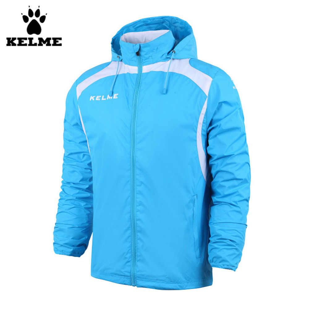 Kelme K15S605 осенне-зимняя мужская Спортивная тканая непромокаемая куртка с капюшоном красного цвета