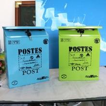 4 цвета винтажная металлическая почтовая коробка корпус металлическая жестяная газета письмо почтовый ящик водонепроницаемый почтовый ящик запирающийся ящик садовый орнамент