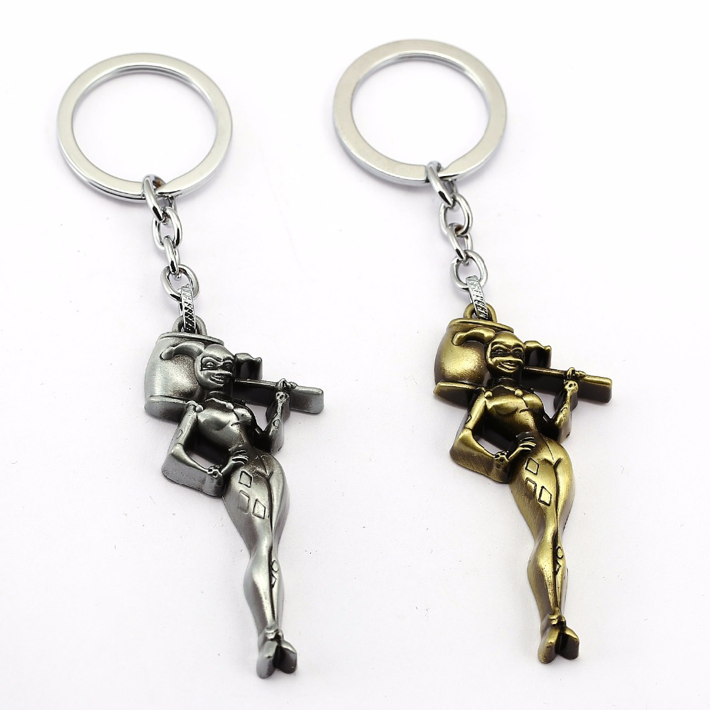 Mengtuyi Movie Suicide Squad Clown Keychain Harley Quinn Beauty Figure Girl Pendant Keyring
