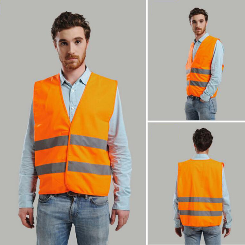 High quality cheap price safety work vest high visibility reflective safety vest waistcoat fluo yellow and orange large size