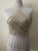 Fashion Style WRB1016 Women Gold Chains Acrylic Beads Necklace Bra Costume Body Wear Chain Crop Tops