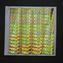 Adesivo holográfico a laser 37x10mm, caso quebrado, etiqueta holográfica à laser, após remoção