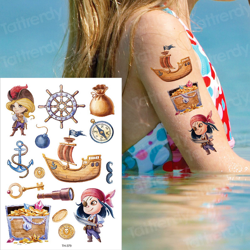Temporary Tattoo Children Tattoo Sticker Kids Cartoon Watercolor Tattoos Fake Tatoo Child Pirate Mermaid Tattoo Water Color Body