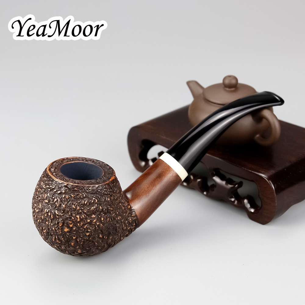 Classic Bent Tobacco Pipe White Ring Carved Briar Smoking Pipe 9mm Filter Round Bowl Briar Wood Pipe 74 tools Carven Briar Pipe