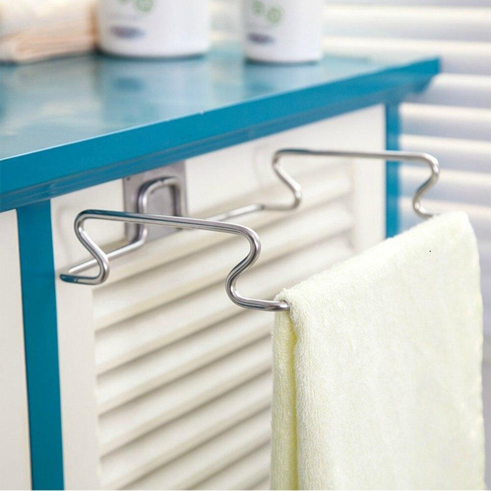 New Creative Back Door Stainless Steel Trash Bag Shelf Storage Hook ...