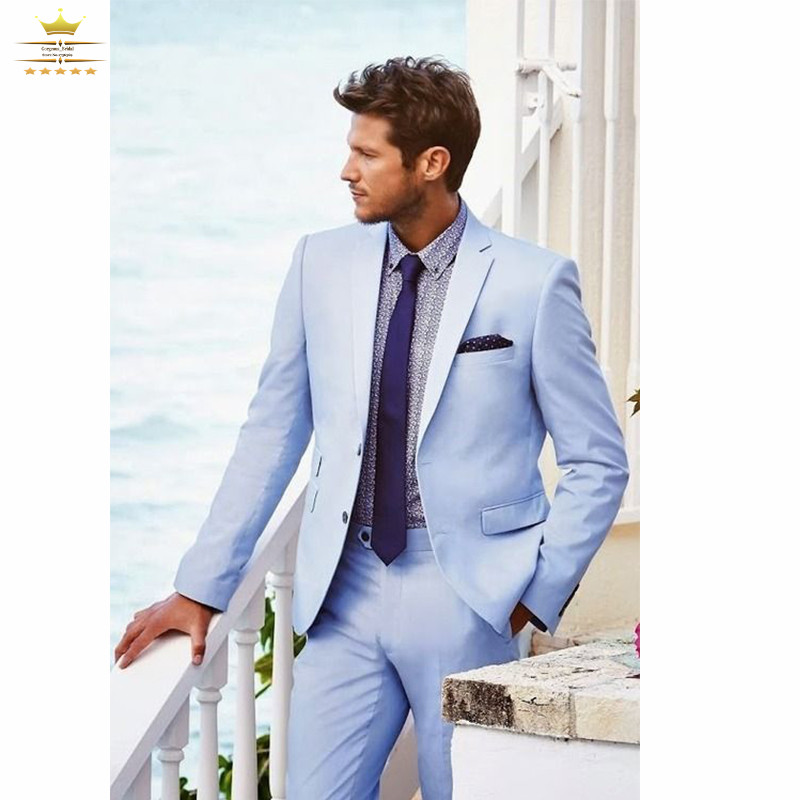 2016 Light Sky Blue Mens Suits Tuxedo Suit Set For Wedding Grooms ...