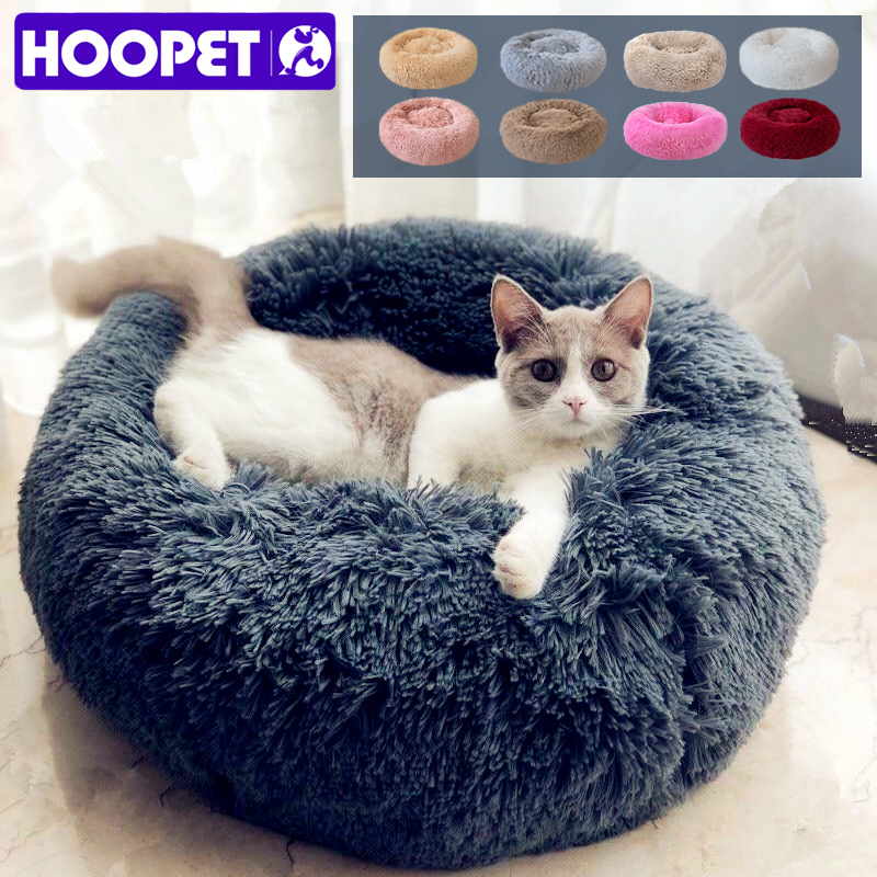 HOOPET Long Plush Super Soft Pet Bed Kennel Dog Round Cat Winter Warm Sleeping Bag Puppy Cushion Mat Portable Supplies