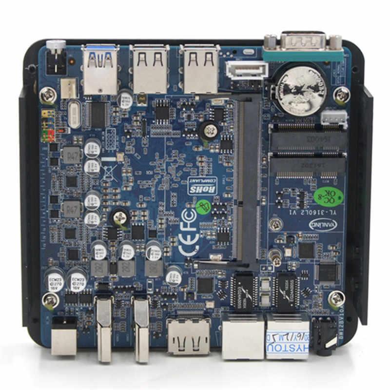 Topton Mini PC Windows 10 Intel V7 N3160 bez wentylatora Barebone minikomputer 2 Lan HDMI 4K HTPC TV, pudełko Nano Mini komputer przemysłowy VESA