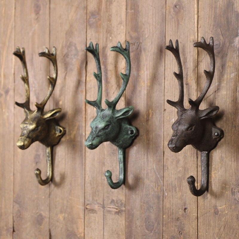 American Village Retro Decoration hook, Old time Window Decoration Do Old Decorative Props Cast Iron Deer Head Hook