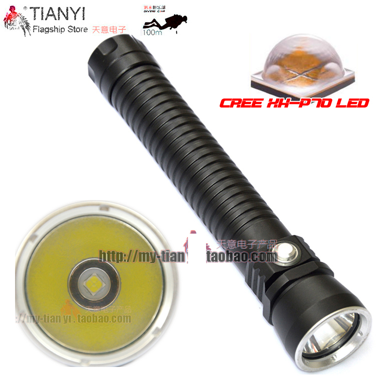 Diving Flashlight XH-P70 LED/CREE L2 Yellow / White Light 8000 Lumens Tactical 26650 Torch Underwater 100M Waterproof hig light 100m underwater diving flashlight led scuba flashlights light torch diver cree xm l2 use 18650 or 26650 rechargeable batteries