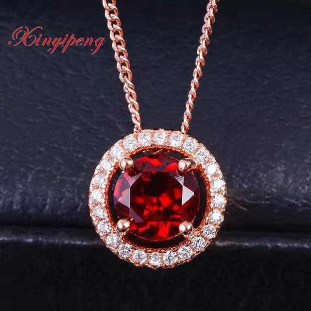 Xinyipeng 925 silver inlaid natural wine red garnet pendant necklace xinyipeng 925 silver inlaid natural wine red garnet pendant necklace female simple fashion festival gift mozeypictures Gallery