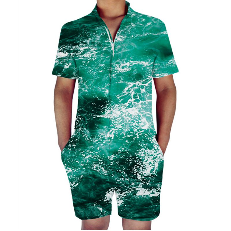 32d9f17bf2a Octopus Print Rompers Men Sea Water Short Sleeve 3D Jumpsuit Playsuit  Hawaii Harem Cargo Overalls Summer One Piece Men Sets-in Men s Sets from  Men s ...