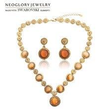 Neoglory, австрийские стразы и опал, ювелирный набор, масло, античный светильник, цвет желтое золото, винтажный подарок, ожерелье и серьги для классики