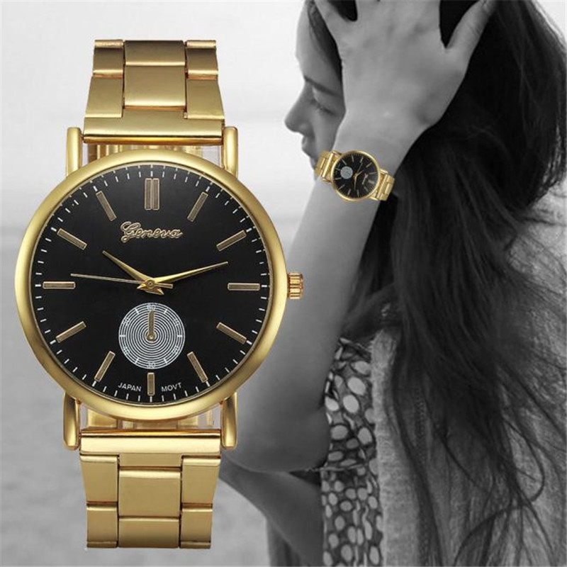 2017 Fashion Women Watches Gold Stainless Steel Band Analog Quartz Wrist Watch Ladies Casual Watch Clock Montre Femme free shipping original 9 inch lcd screen claa102na0acw 30 pin