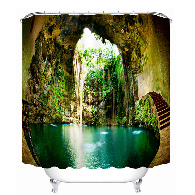 Latest Bathroom Products Landscape Scenery 3d Printing Shower Curtains Bathroom Curtain Waterproof Accessories Bath Curtain