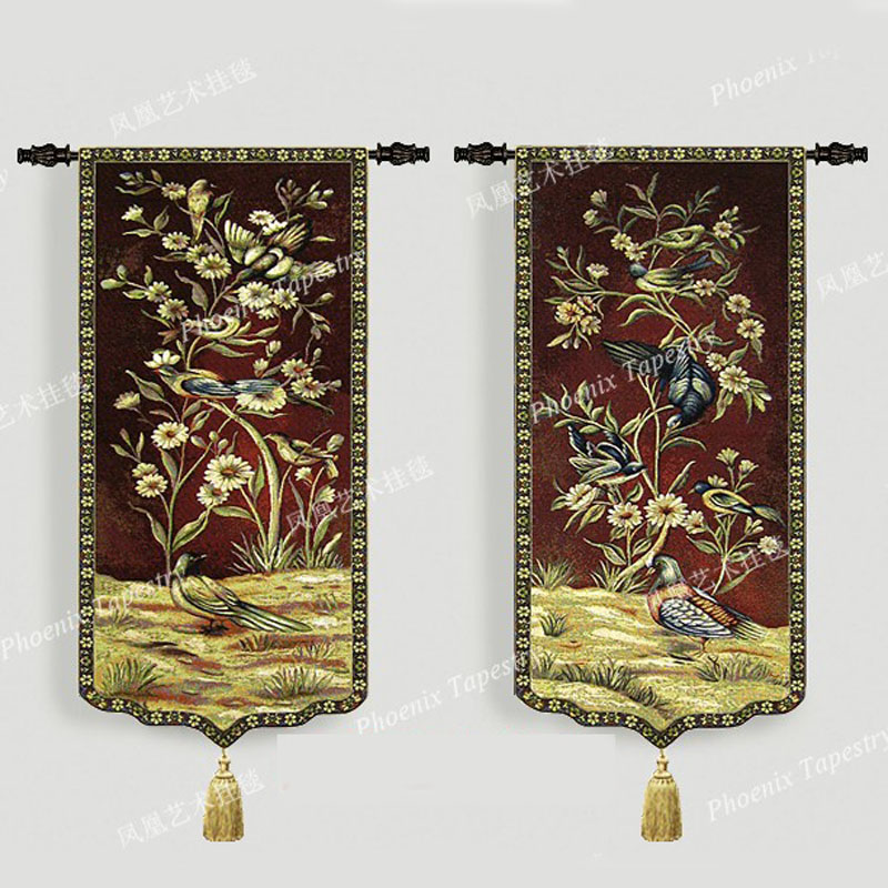 FlyBird in the flowers A pair of wall hanging tapestry 95 46cm Medieval aubusson cotton backing