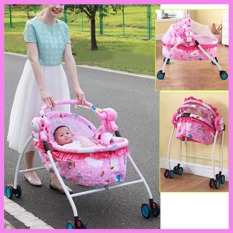 Baby Electric Cradle Bed Baby Trolley Crib with Roller Child Rocking Bed Infant Baby Crib Stroller with Music Mosquito Net 0~2Y fashion electric baby crib baby cradle with mosquito nets multifunctional music baby cradle bed