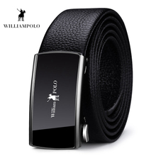 Williampolo Brand Leather Belt For Men Luxury Fashion Automatic Buckle Ratchet BeltsLeather PL18345-46P