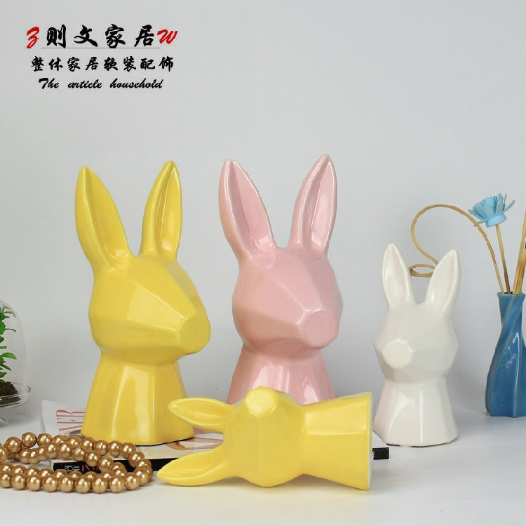 Ceramic Creative Abstract Rabbit Home Decor Crafts Room Decoration Bunnies Handicraft Ornament Porcelain Animal Figurines Gifts