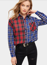 M new plaid shirt female lapel color matching  Office Lady Turn-down Collar women blouses