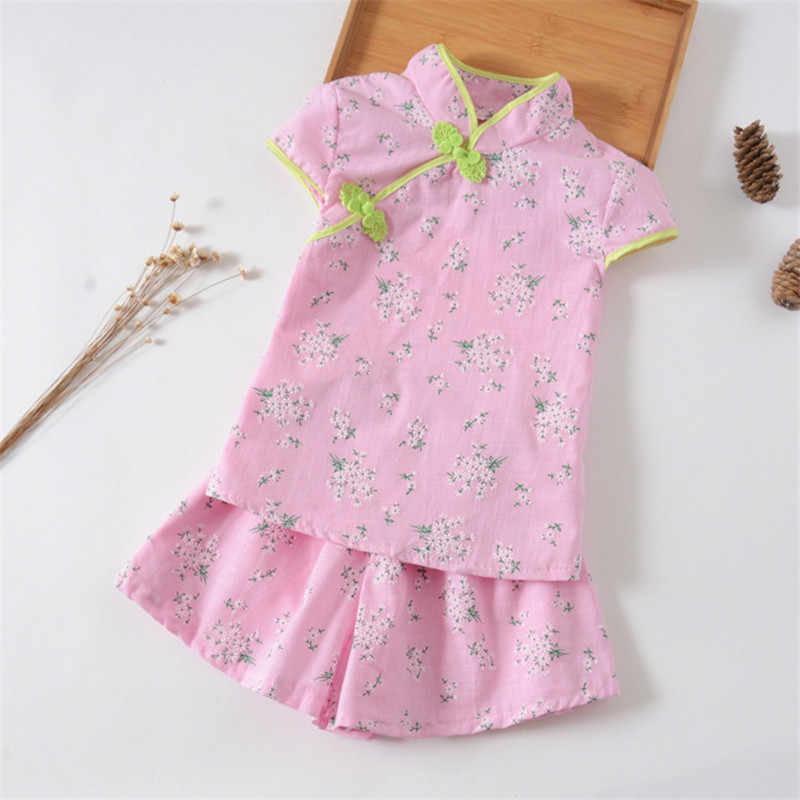 79a0cd35e159d BibiCola 2PCS Girl Clothes Chinese style Kids Summer Clothes Set Baby Girls  Fashion Tops +Shorts Children Clothing Suit