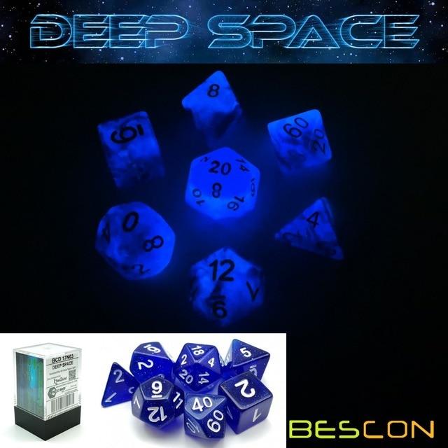 Bescon Super Glow In The Dark Nebula Brilho Dados Poliédricos Definida para o ESPAÇO PROFUNDO, Luminous Dice RPG Set, glowing Novidade Dice DND