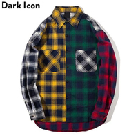 Color Block Patchwork Turn Down Collar Men S Shirt 2017 Flannel Plaid Hip Hop Shirts Men