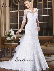 Image 3 - Sheer Neck Illusion Vestidos De Novia 2020 Lace Appliques Long Sleeve Mermaid Wedding Dress Brazil Mariage Wedding Gowns W0004