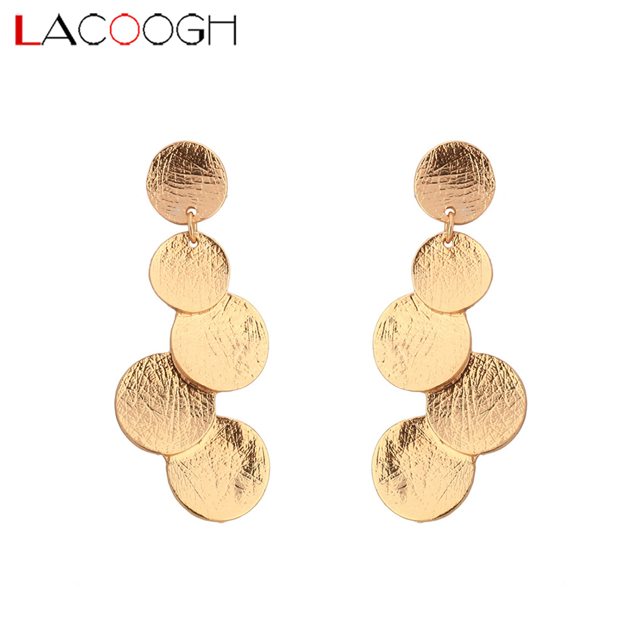 Lacoogh 2017 New Fashion Brief Round Boho Statement Earrings Gold Color Ethnic Bohemia Long Big Drop Dangle Earrings for Women