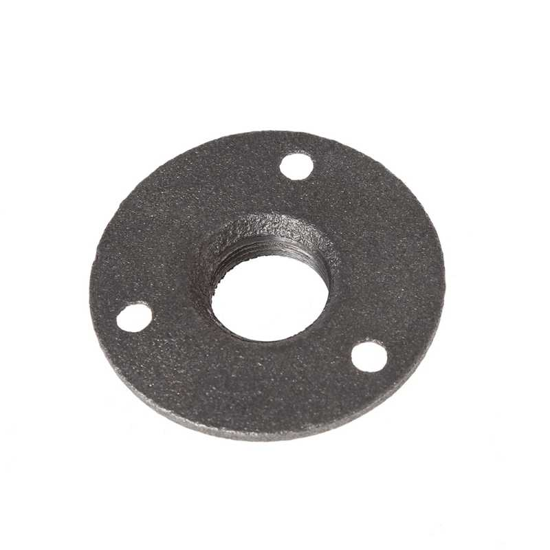 """3//4/"""" Malleable Threaded Black Floor Flange Iron BSP Wall Mount Small, 3 Holes"""